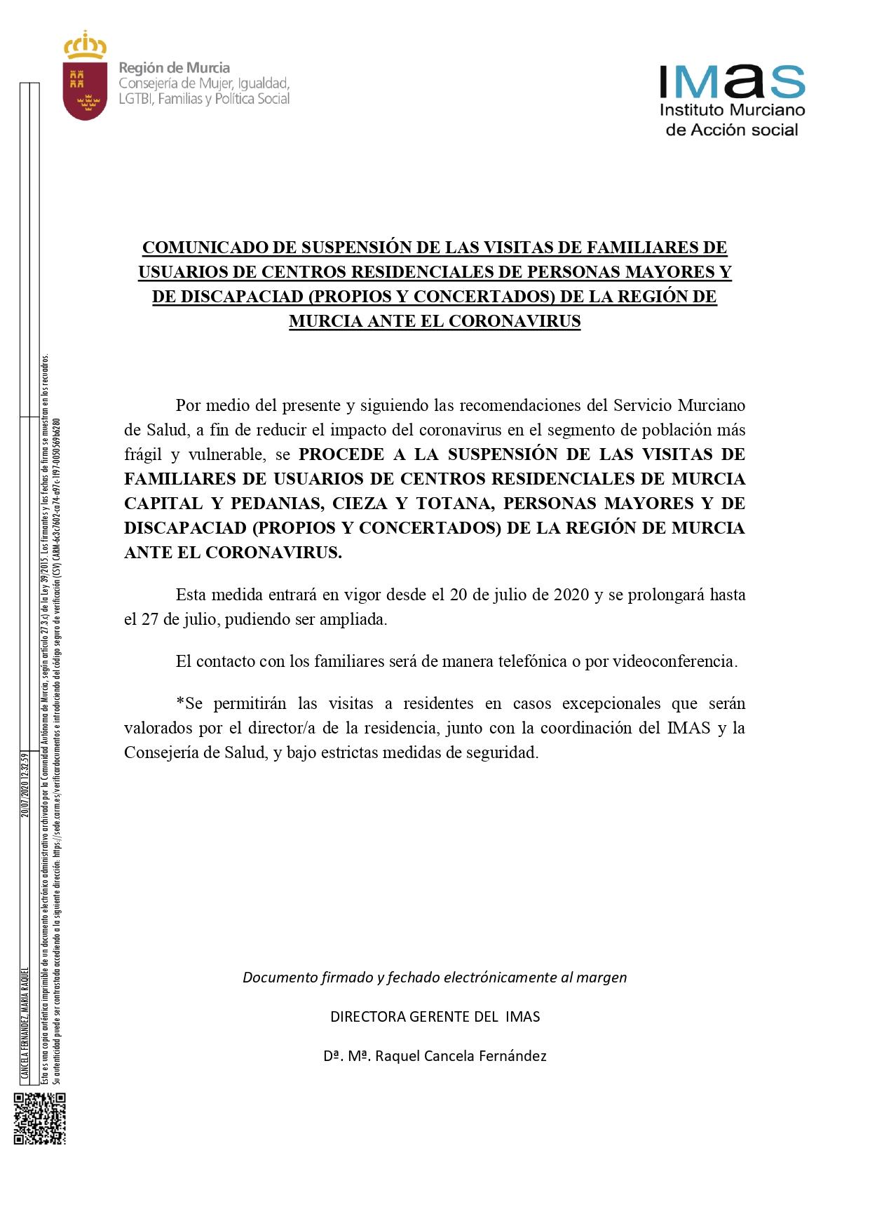 Suspensión de visitas de familiares en residencias de Murcia y pedanías.